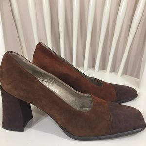 Brown Suede Leather Pumps Heels Size 7.5 Square